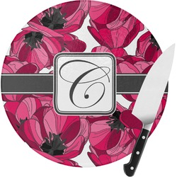Tulips Round Glass Cutting Board (Personalized)