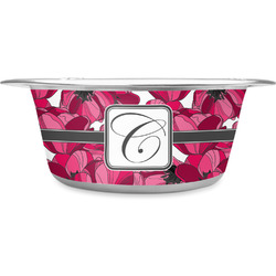 Tulips Stainless Steel Dog Bowl (Personalized)
