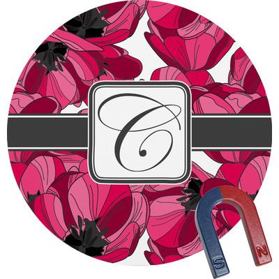 Tulips Round Fridge Magnet (Personalized)