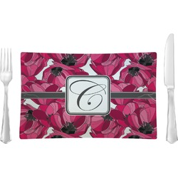 Tulips Rectangular Glass Lunch / Dinner Plate - Single or Set (Personalized)