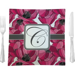 Tulips Glass Square Lunch / Dinner Plate 9.5