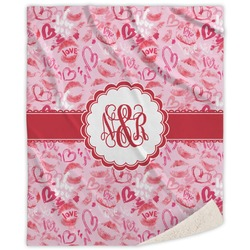 Lips n Hearts Sherpa Throw Blanket (Personalized)
