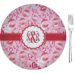 """Lips n Hearts 8"""" Glass Appetizer / Dessert Plates - Single or Set (Personalized)"""