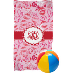 Lips n Hearts Beach Towel (Personalized)