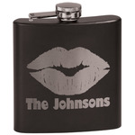 Lips n Hearts Black Flask (Personalized)