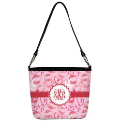 Lips n Hearts Bucket Bag w/ Genuine Leather Trim (Personalized)
