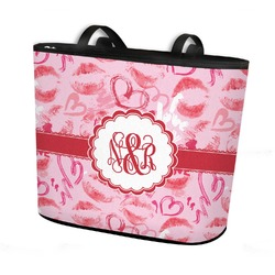 Lips n Hearts Bucket Tote w/ Genuine Leather Trim (Personalized)