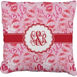 Lips n Hearts Burlap Pillow Case (Personalized)