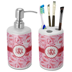 Lips n Hearts Bathroom Accessories Set (Ceramic) (Personalized)