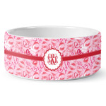 Lips n Hearts Ceramic Dog Bowl (Personalized)