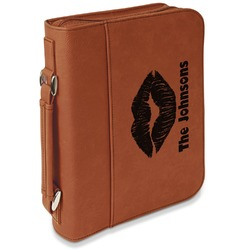 Lips n Hearts Leatherette Book / Bible Cover with Handle & Zipper (Personalized)