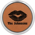 Lips n Hearts Leatherette Round Coaster w/ Silver Edge - Single or Set (Personalized)