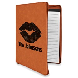 Lips n Hearts Leatherette Zipper Portfolio with Notepad (Personalized)