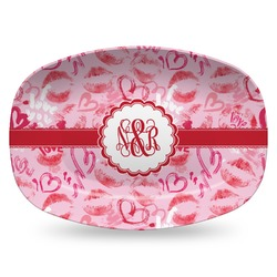 Lips n Hearts Plastic Platter - Microwave & Oven Safe Composite Polymer (Personalized)