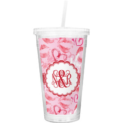 Lips n Hearts Double Wall Tumbler with Straw (Personalized)
