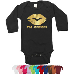 Lips n Hearts Foil Bodysuit - Long Sleeves - Gold, Silver or Rose Gold (Personalized)