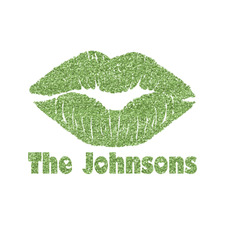 Lips n Hearts Glitter Iron On Transfer- Custom Sized (Personalized)