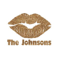 Lips n Hearts Glitter Iron On Transfer- Custom Sized (Personalized)