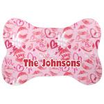 Lips n Hearts Bone Shaped Dog Food Mat (Personalized)