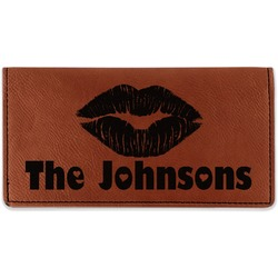 Lips n Hearts Leatherette Checkbook Holder - Double Sided (Personalized)