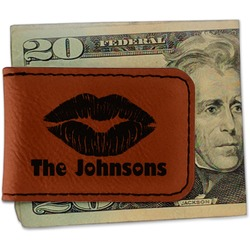 Lips n Hearts Leatherette Magnetic Money Clip (Personalized)