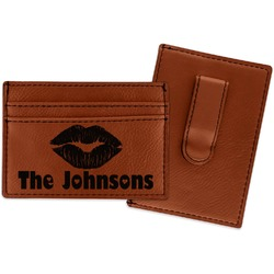 Lips n Hearts Leatherette Wallet with Money Clip (Personalized)