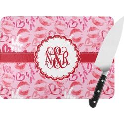 Lips n Hearts Rectangular Glass Cutting Board (Personalized)