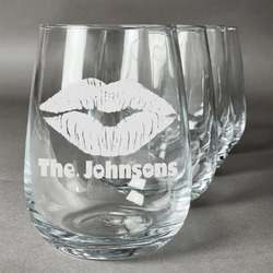Lips n Hearts Wine Glasses (Stemless- Set of 4) (Personalized)