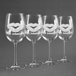 Lips n Hearts Wine Glasses (Set of 4) (Personalized)