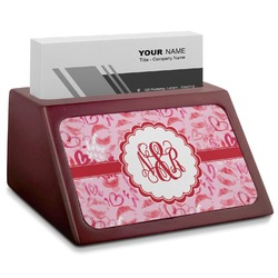 Lips n Hearts Red Mahogany Business Card Holder (Personalized)