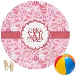 Lips n Hearts Round Beach Towel (Personalized)