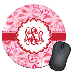Lips n Hearts Round Mouse Pad (Personalized)
