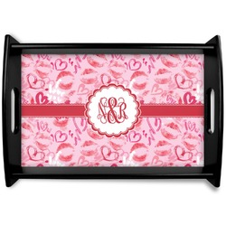 Lips n Hearts Black Wooden Tray (Personalized)