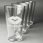 Lips n Hearts Beer Glasses (Set of 4) (Personalized)