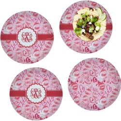 Lips n Hearts Set of 4 Lunch / Dinner Plates (Glass) (Personalized)