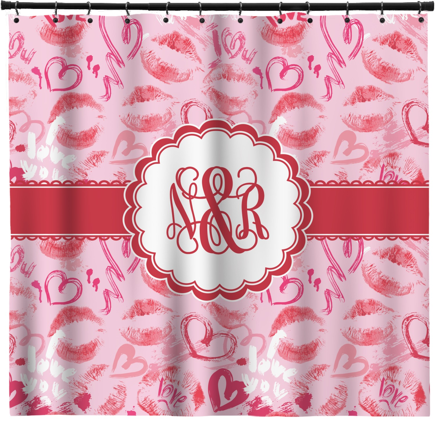 Lips N Hearts Shower Curtain Personalized