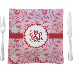 "Lips n Hearts Glass Square Lunch / Dinner Plate 9.5"" - Single or Set of 4 (Personalized)"