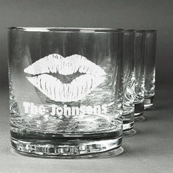 Lips n Hearts Whiskey Glasses (Set of 4) (Personalized)