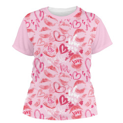 Lips n Hearts Women's Crew T-Shirt (Personalized)