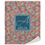 Retro Squares Sherpa Throw Blanket (Personalized)