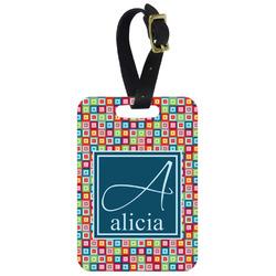 Retro Squares Aluminum Luggage Tag (Personalized)