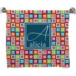 Retro Squares Full Print Bath Towel (Personalized)