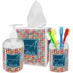 Retro Squares Bathroom Accessories Set (Personalized)