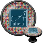 Retro Squares Cabinet Knob (Black) (Personalized)