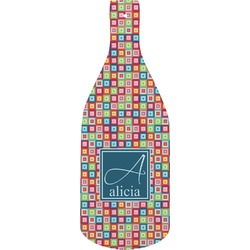 Retro Squares Bottle Shaped Cutting Board (Personalized)