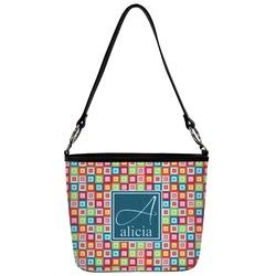 Retro Squares Bucket Bag w/ Genuine Leather Trim (Personalized)