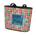 Retro Squares Bucket Tote w/ Genuine Leather Trim (Personalized)