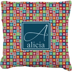 Retro Squares Faux-Linen Throw Pillow (Personalized)