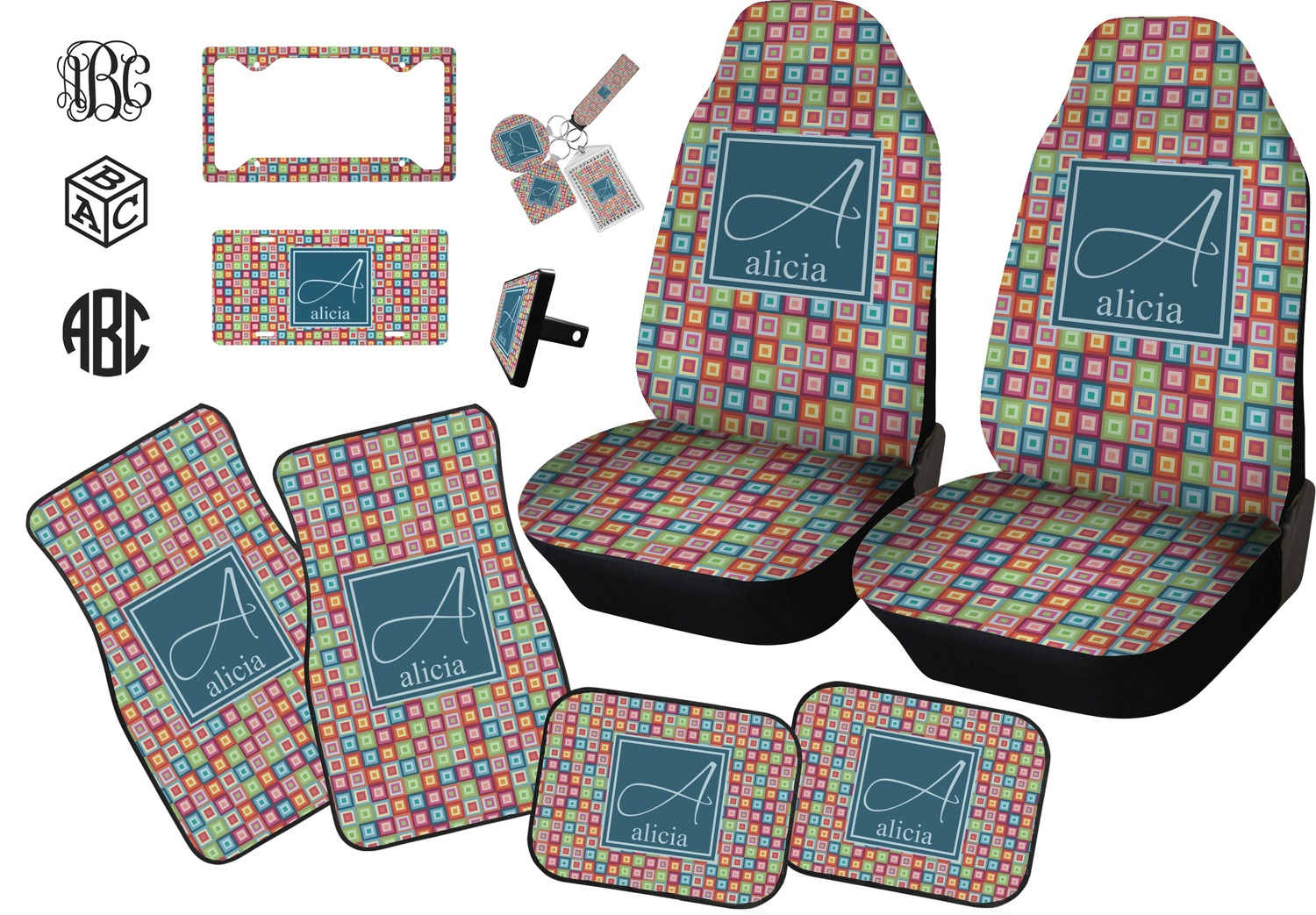 Retro Squares Seat Belt Covers Set Of 2 Personalized