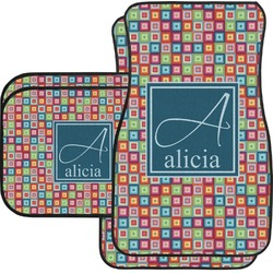 Retro Squares Car Floor Mats Set - 2 Front & 2 Back (Personalized)